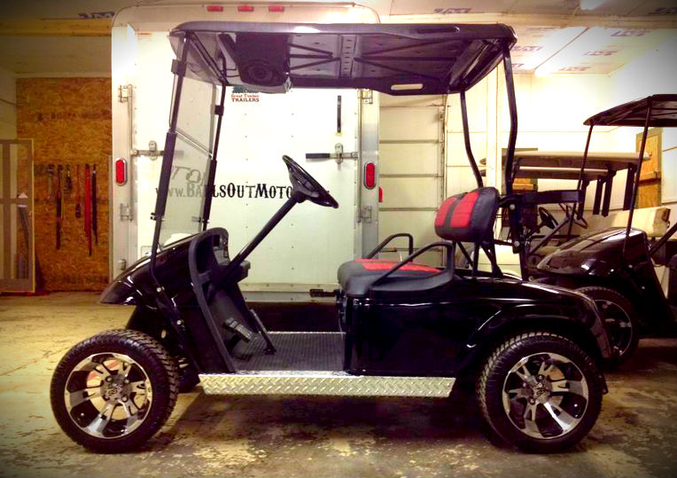 Black & red lifted golf cart custom wheels Omaha