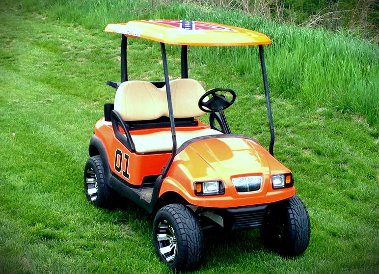 orange general lee golf cart custom